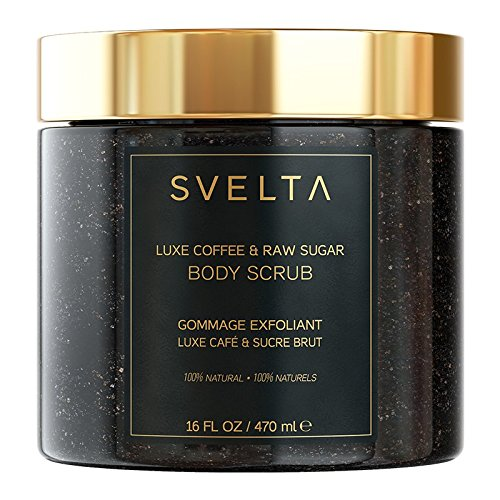 Svelta Luxe Coffee & Raw Sugar Body Scrub / Reduce Appearance of Cellulite and Stretch Marks / Long Lasting Hydration / Deep, Intense Exfoliation / Invigorating with Natural Oils and Organic Sugar at Cellulite House