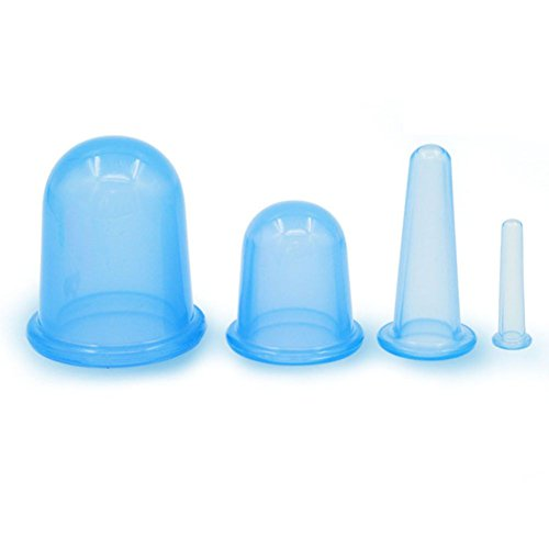 VASSOUL Anti Cellulite Silicone Neck Face Body Massage Cupping Cups Blue x 4 Sizes with full Instructions